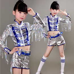 Free Shipping Kids Jazz Party dance Show Costumes New Girls Performance Jazz Dance Clothes Hip Hop Costume Sequined Dance wear tops+Pants