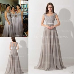 Wholesale Only Sheer Lace Chiffon Summer Bridesmaid Dresses A Line Cap Sleeves Appliques Beaded Long Maid of Honor Gowns Evening Dress CPS233