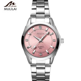 Korean version of the new mulilai quartz ladies watch round pink diamond dial brand luxury waterproof all stainless steel 5 color watches
