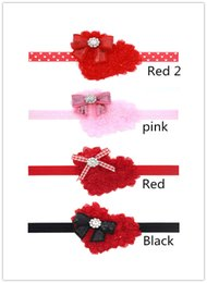 Valentines Day Headband with rhinestone - Red Valentines Day Headband -- Red Heart Headband With Black Sequin Bow Accent