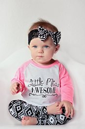Wholesale girl funny letters printed suits NEW Kids Baby Tops little miss awesome T shirt Pants Leggings Headband Outfits cotton Clothes top Set