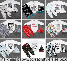 Wholesale Christmas Xmas Baby Girls Boys Deer Moose Tops T shirt Romper Deer Leggings Pants Shorts infant Ins Hat Headband letetr Outfits Set