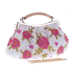 Descuento señoras monederos moldeado Nuevo bolso hecho a mano de la novia del bolso de tarde de las flores rebordeó a señoras de las mujeres de lentejuelas embrague Slap-para arriba los bolsos apacibles A595 del partido