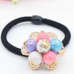 Wholesale ladies hotselling new crystal diamond pearls beads hair tie hair bands cute girls hair accessories