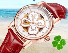 Mujer del estilo de reloj resistente al agua en venta-Relojes automáticos mecánicos de las mujeres calientes de la manera cuatro estilo del glover de la hoja ahuecan hacia fuera con los relojes de pulsera impermeables del diamante 8 colores [M029]