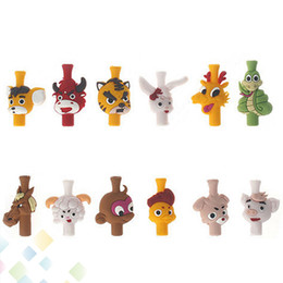 Fashion EGO 510 Lovely Animal Silicone Drip Tip twelve Chinese zodiac signs 12 Animal Shape Drip Tips for 510 Atomizer Mouthpieces DHL Free