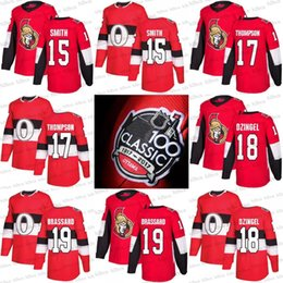 2017 100 Classic Ottawa Senators Jerseys 18 Ryan Dzingel 17 Nate Thompson 19 Derick Brassard 15 Zack Smith custom Red Hockey jersey