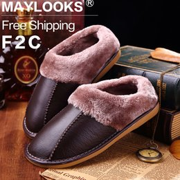 High Quality Winter Warm Slippers Couples Genuine Cow Leather Leisure Lamb Wool Cow Men Indoor Floor Slippers Home Shoes