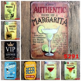 Wholesale 20 cm Vintage Metal Tin Sign Cocktail Lounge VIP Tin Poster Beer Authentic Margarita Iron Painting For Bar Bedroom Restaurant rjb