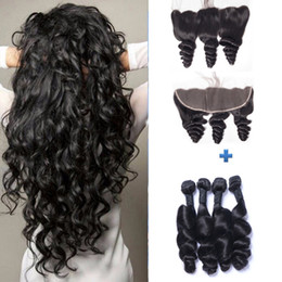 Peruvian Loose Wave Human Hair Wefts with 13x4 Lace Frontal Ear to Ear Full Head Natural Color Can be Dyed Unprocessed Human Hair