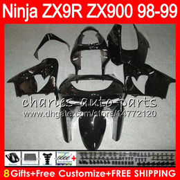 8Gifts 23Colors For KAWASAKI NINJA ZX 9 R ZX9R 98 99 00 01 900CC 48HM18 gloss black ZX 9R ZX900 ZX900C ZX-9R 1998 1999 2000 2001 Fairing kit