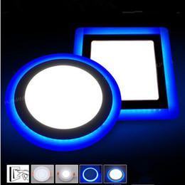 Скидка синяя панель Светодиодные 6w 9w 16w привели вниз панели привели фары синий белый утопленный потолочный свет SMD2835 painel огни 3 режима Сменные освещения AC85-265V CE UL