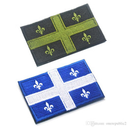 Promotion gros national 50 PCS brodé Canada Drapeau du Québec Patches Army 3D Tactical Patches militaires Canadian National Emblem Fabric Badge Wholesale 666