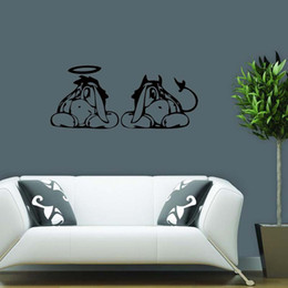 For Eeyore Angel Devil Car Vinyl Wall Sticker Cute Decor Removable Decal Quote Art Bedroom Sitting Room Diy