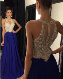 Wholesale fashion luxury royal blue long evening dresses o neck crystal beaded chiffon women pageant Dress for formal prom party