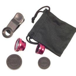 Wholesale Len Clip Eye - Wholesale-3 In 1 universal clip camera mobile phone len fish eye + macro + wide angle for iphone 5s 4s 6s plus xiaomi samsung s5 4 fisheye