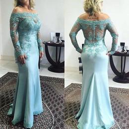 Custom Made 2017 Ocean Blue Mermaid Evening Dresses Elegant Off Shoulders Sheer Long Sleeves Appliques Beaded Prom Party Mother Dresses