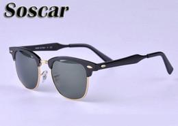2017 marcos libres Gafas de sol de diseño de marca de fábrica de magnesio de aluminio Marco Verde G-15 Gafas de sol deportivas de hombres UV380 con caja de cuero gratis económico marcos libres