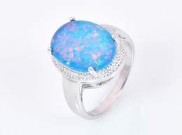 Wholesale & Retail Fashion Fine Blue Fire Opal Ring 925 Silver Plated Jewelry For Women EMT1517007
