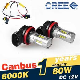 2017 las luces de carga Nuevo 2 X 9006 HB4 Blanco 80W 6000K Proyección LED Fog Light incluyen Resistencia de Carga de Error de Canbus las luces de carga Rebaja