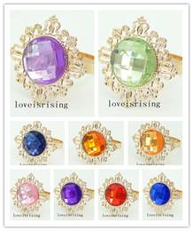 22 Colors Pick--10pcs Beautiful vintage style sparkling gemstones Gold Plated Napkin Rings Wedding Bridal Shower Napkin holder
