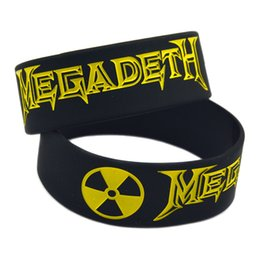 "Wholesale Shipping 50PCS Lot Heavy Metal Rock Style Band Megadeth Silicone Wristband 1"" Wide Bracelet for Fans"