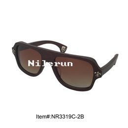 new style square dark brown bamboo sunglasses with gradient brown lenses and metal decorating pins