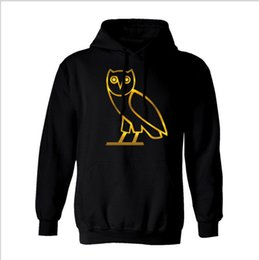 Wholesale 2016 autumn and winter cotton men s sportswear sportswear jogging jacket pullover sweater round neck birds OVO black hip hop men s larg
