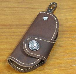 Wholesale Fashion Handmade Women amp Men s Cowhide Genuine Leather Car Key Holder Leather Key Case automobile keychain Wallet Purse MC804