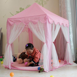 Wholesale New upgrades Six Korean Angle Princess Castle Gauze Tent House Girl Children Large Indoor Toy Game House Mosquito best gift