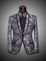 (Jacket + pants + bow tie) New Mens floral Blazer suits slim Groomsman wedding dress suit the Big yards 4 XL 5 XL 6 XL
