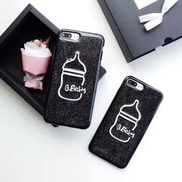 Wholesale Fashion Cute Black Bling Powder Baby Bottle Phone Case For Iphone Case For Iphone s Plus Soft TPU Phone Back Cover Coque
