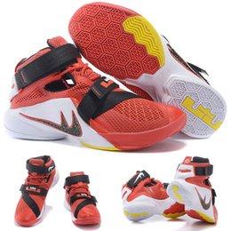 (Avec chaussures Box) NOUVEAU James LeBron Zoom Soldat 9 Rouge Blanc Noir 749417-606 Chaussures pour hommes taille 7-12 à partir de soldats lebron noir fournisseurs
