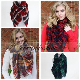 Wholesale 15 colors Fashion Winter New Tartan Scarf Plaid Blanket Scarf New Designer Unisex Acrylic Basic Shawls Women s Scarves Big Size M219 B
