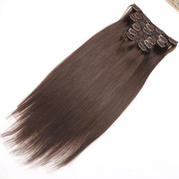 """Hot sale Clip in Human Hair Extensions 16"""" 18"""" 20"""" 22"""" 24"""" 26"""" Indian Remy Human Hair Extensions 7pcs set Color #2 Darkest Brown Stright"""