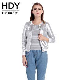 2017 voler v HDY Haoduoyi 2017 Automne Mode Femmes O-cou manches longues Basic Outwear Coat Casual Zipper Fly Slim Bomber Veste 1703 peu coûteux voler v