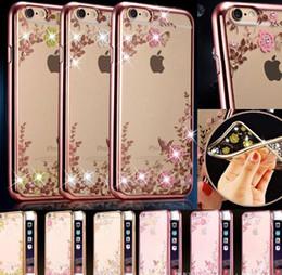 Wholesale TPU cover Plating case Secret garden bling diamond flower case for iphone Plus S s plus LG G4 G5 HUAWEI MATE8 P8 P9 Plus