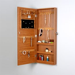 Wholesale Wood Jewelry Organizer Storage Cabinet Wall or Door Mounted Jewelry Armoire Display Box with Mirror USA Stock
