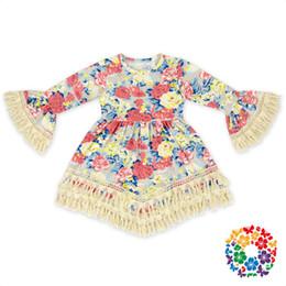 Hot Babys Print Lace Tassel Dress BOHO Style Kids Elegant Length Beach Dress Casual Flare Sleeve Sweet Baby Princess Dress