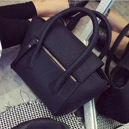 Wholesale 2016 New Women Bags Bat Bag Black Retro Simple Lichee Women Shoulder Bag Female Messengar Bags dames tassen malas de mulher sac
