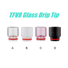 Wholesale NEW TFV8 Glass Drip Tip for TFV8 Tank Atomizer Electronic Cigarette Best Mouthpieces Wide Bore Drip Tip High quality