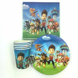 Wholesale Cartoon Dogs theme kids boys birthday party paper plate cake dishes paper cups paper napkins table cloth for people