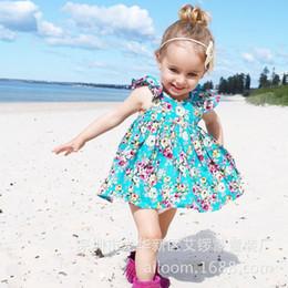 2017 children summer clothes sets girl bule floral print suspender dress + pp pants 2pcs sets kids cotton clothing suits
