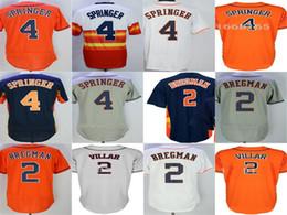 Houston Jerseys Mens WOmens Kids Toddlers 2 Alex Bregman 4 George Springer Orange Blue Grey White Grey Baseball Jersey Wholesale