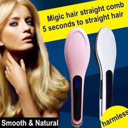 Wholesale 2017 Original LCD Display Simply Ceramic Hair Straightening Irons Electric Digital Fast Hair Straightener Brush Comb Escova Alisadora