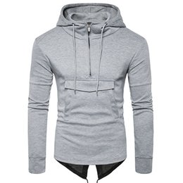 Free Shipping 2017 Autumn and Winter New Men's Fashion Solid Color Large Pocket Features Zipper Hooded Sweater Hedging