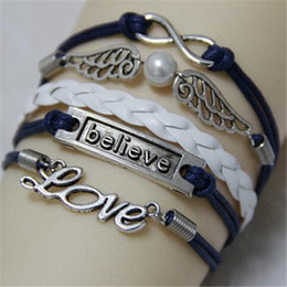 Wholesale Infinity Believe Bracelet Hunger Games Anchor Wing Love Jesus Owl Multilayer Pattern Leather Charm Bracelet Fashion Lady Jewelry
