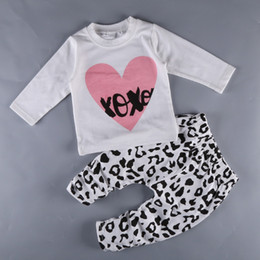 Wholesale 2017 News Girl Spring Clothing Sets Children Valentina s Day Love Heart T Shirt With Matching Leopard Long Pants Two Piece Sets