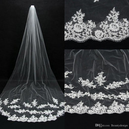 Cheap Romantic Hot Real Image Wedding Veils Ivory Lace Applique Tulle Bridal Veils Long Chapel Train In Stock Bridal Accessories CPA067