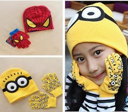 Wholesale Despicable Me Minions Spider man Knit Caps Gloves Cartoon Winter Knitted Kids Girls Boys Hats Gloves Children Christmas Gift